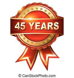 45, år, årsdag, gyllene, etikett, w