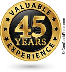 45, år, dyrbar, erfarenhet, guld, etikett, vektor,...