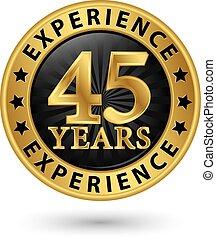 45, år, erfarenhet, guld, etikett, vektor, illustration