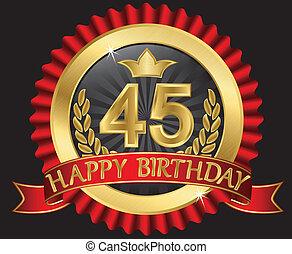 45, år, grattis pa fodelsedagen, gyllene, labe