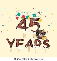 45 års fest 45, fyrre, fødselsdag, fem, år, kage, card, glade. Kunst, antal  45 års fest