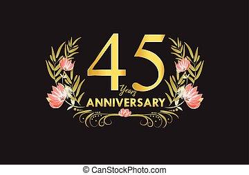 45, 金, 花輪, 記念日, 年, 水彩画, ベクトル