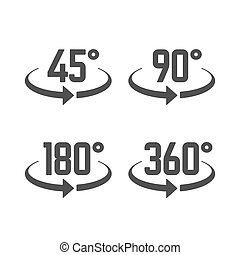 45, 90, 180, och, 360, grader, synhåll