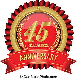 45, anni, anniversario, dorato, etichetta