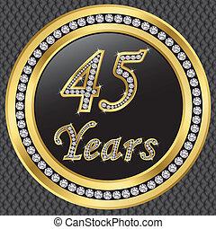 45, anni, anniversario, felice, birthda