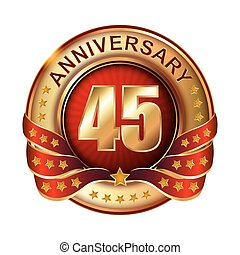45 Anniversary golden label with ribbon.