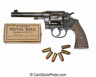 45 caliber revolver - Pistol and six 45 caliber bullets