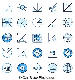 45 Degree colored icons - vector 45 Degrees Angle signs