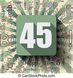 45, grattis pa fodelsedagen, kort