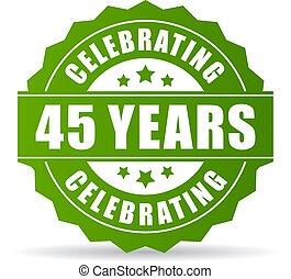 45, jahre, feiern, vektor, grün, ikone