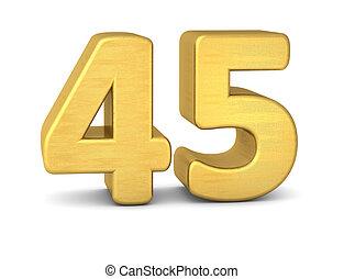 45, nombre, or, 3d