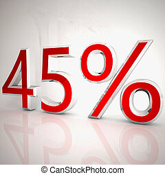 45 per cent over white reflecting background, 3d rendering