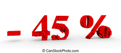 45 percent discount icon on white background 3D