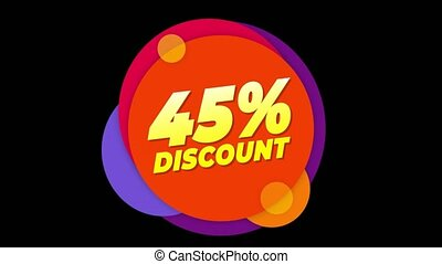 45% Percent Discount Text Flat Sticker Colorful Popup...