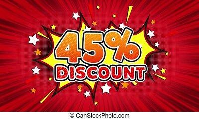 45% Percent Discount Text Pop Art Style Comic Expression. -...