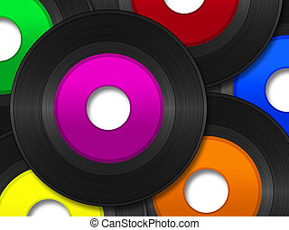 A pile of 45 RPM vinyl records with multi-colored labels.