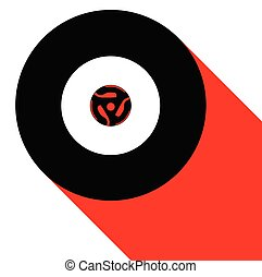 A typical 45 rpm vinyl record with a blank labell over a white and red shadow background.
