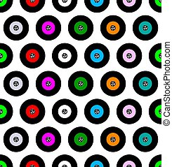 A typical 45 rpm vinyl record background as a seamless repeating pattern