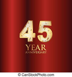 45 Year Anniversary Gold With Red Background Vector Template Design Illustration