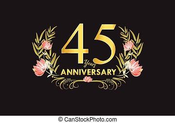 45 Years anniversary gold watercolor wreath vector