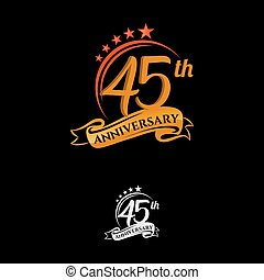 45 years anniversary celebration design with thin number shape golden color for special celebration event