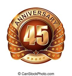 45 years anniversary golden label with ribbon.