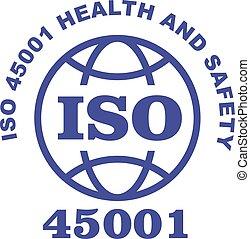 45001, γραμματόσημο , - , σήμα , υγεία , ασφάλεια , iso, επαγγελματικός , μέτρο