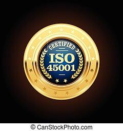 45001, -, norme, sécurité, iso, santé, professionnel, médaille