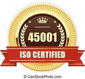 45001, -, sécurité, iso, santé, professionnel, médaille, certifié