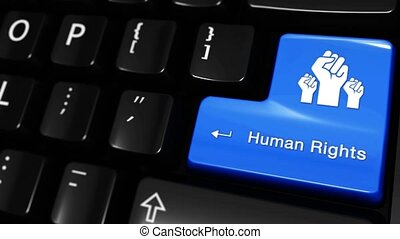 455. Human Rights Moving Motion On Computer Keyboard Button.
