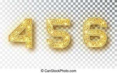 4,5,6 glitter typography design. Gold sparkling Numbers Design of greeting card of Happy new year design. Gold Shining Pattern. Vector illustration.