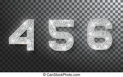 4,5,6 glitter typography design. Silver sparkling Numbers Design of greeting card of Happy new year design. Silver Shining Pattern. Vector illustration.