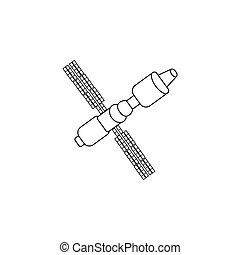 456 - Satellite sign line icon, vector illustration. black...