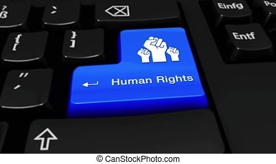 457. Human Rights Round Motion On Computer Keyboard Button.