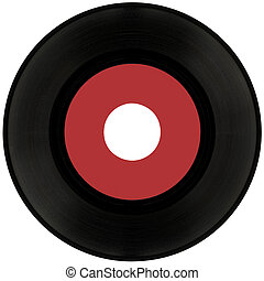 45rpm Vinyl record cutout - Gramophone vinyl record isolated...
