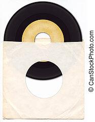 45rpm, vinylverslag, met, mouw
