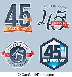 45th Anniversary Logo - A Set of Symbols Representing a 45...