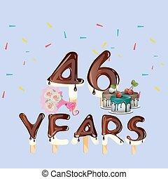 46th years Happy Birthday card