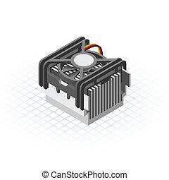 478, processeur, ventilateur, isométrique, douille