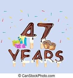 47th Years Happy Birthday card