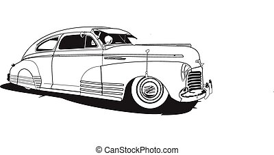 1948 chevrolet, line drawing, vector, slant back model referred to as Bomb