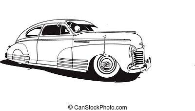 48 Chevrolet (bomb) - 1948 chevrolet, line drawing, vector,...