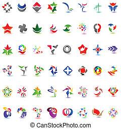 48, diferente, colorido, vector, icons:, (set, 1)