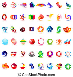 48, forskellige, farverig, vektor, icons:, (set, 4)