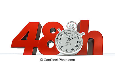48 Hours - 3D rendering of 48 Hrs in red letters with a...