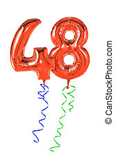 48, -, número, rojo, globos, cinta