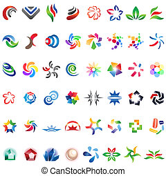 48, różny, barwny, wektor, icons:, (set, 3)