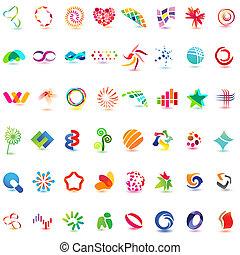48, różny, barwny, wektor, icons:, (set, 5)