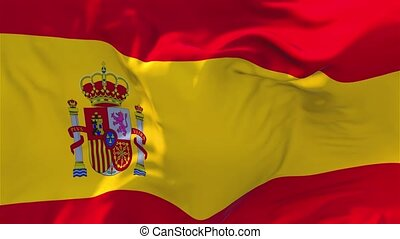 48. Spain Flag Waving in Wind Continuous Seamless Loop Background.