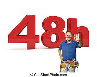 48, timmar, tusenkonstnär, service